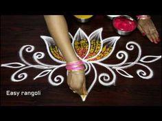 creative lotus rangoli designs with out dots & with colors - simple kolam designs - muggulu designs Rangoli Side Designs, Rangoli Designs Simple Diwali, Simple Rangoli Border Designs, Rangoli Simple, Rangoli Designs Latest, Free Hand Rangoli Design, Small Rangoli Design, Colorful Rangoli Designs, Beautiful Rangoli Designs