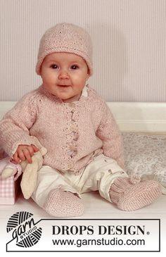DROPS Jakke med raglanaflukning og hæklede kanter, hue og sokker i «Angora-Tweed». Gratis opskrifter fra DROPS Design.