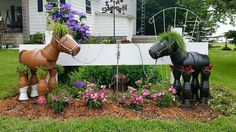 Clay pot horses- uses JB weld to hold the pots together