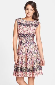 Free shipping and returns on Gabby Skye Floral Print Scuba Fit & Flare Dress at Nordstrom.com. A charming micro-floral print sweetens this pretty fit-and-flare dress detailed with an elegant bateau neckline and barely there cap sleeves.