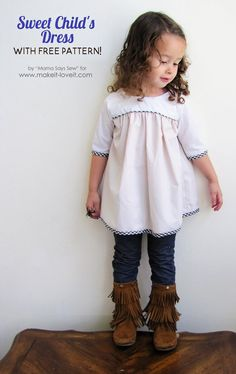 This sweet child& dress pattern is a free pattern and tutorial from sizes 18 months to 8 years. It includes both dress and tunic lengths. Sewing Kids Clothes, Sewing For Kids, Baby Sewing, Diy Clothes, Kids Clothing, Barbie Clothes, Kids Dress Patterns, Clothing Patterns, Blouse Patterns