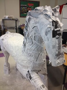 Paper Mache Horse made out of old bulletins -recycle:-)