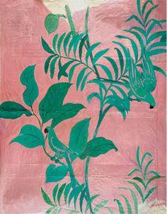 motif textile : Paule Marrot, feuillage vert - rose, femmes artistes