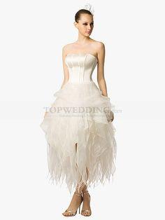 Sweetheart Tea Length Wedding Dress with Cascading Organza Skirt