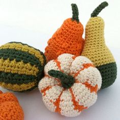 Gourds Pumpkins Autumn Decorations Fall by LittleConkers on Etsy Crochet Pumpkin, Crochet Fall, Halloween Crochet, Holiday Crochet, Cute Crochet, Hand Crochet, Crochet Toys, Knit Crochet, Thanksgiving Crochet