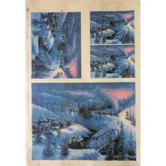 carta di riso per decoupage 30x42 paesaggi innevati
