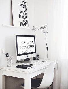 White and black home office