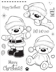 Kanban clear rubber stamps - Christmas - Woolly Bears - Santa Bear