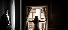 Bride and groom pose for portraits on the morning of their wedding day at the Belvedere Hotel in Baltimore, MD. Captured by Ben Lau Photography.