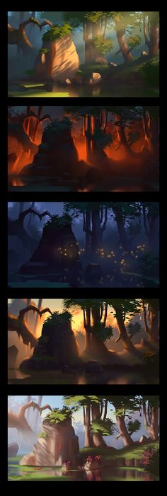 Art of AnthonyE: Color Harmony Studies Background with lighting. Concept Art Landscape, Fantasy Landscape, Landscape Art, Landscape Lighting, Landscape Design, Environment Concept Art, Environment Design, Game Environment, Doodle Drawing