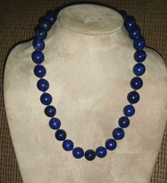 """Large 14mm Dark BLUE LAPIS LAZULI BEAD 20"""" NECKLACE - Knotted - Sterling Clasp"""