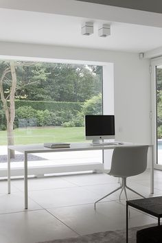 architecture design. interior. workspaces. home office. minimalism. glass windows.