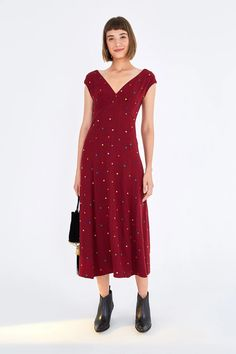 Farm Rio's cheerful creations are crafted with an exotic, toes-in-the-sand spirit that's simultaneously fashion-forward and vintage-inspired. V Neck Midi Dress, Drop Waist, Cap Sleeves, Fashion Forward, Vintage Inspired, Burgundy, Dots, Short Sleeve Dresses, Beautiful