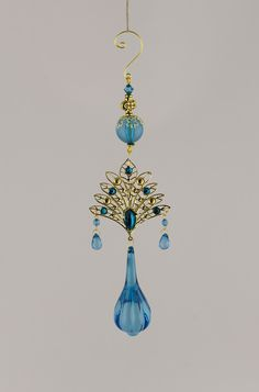 Acrylic Crystal Ornament Turquoise 9.5in