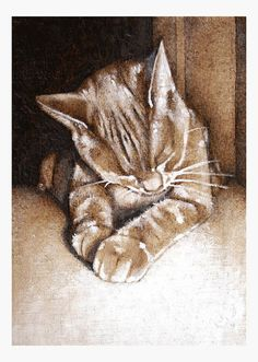 cat art print by TheHauntedHollowTree on Etsy - soft and sweet