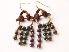 Leather Earrings Small Chandelier Jewel Tones Brown by WebAndRock, $20.00