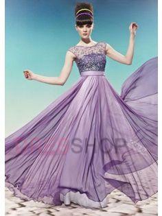 A-line/Princess Scoop Beading Modest Prom Dresses