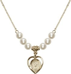 18-Inch Hamilton Gold Plated Necklace with 4mm Faux-Pearl Beads and Gold Filled Cross Charm.