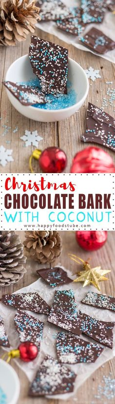 Christmas Chocolate Bark with Coconut Recipe. An edible Christmas gift idea for any chocolate lover out there. Ready in 10 minutes.