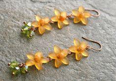 Orange Yellow Lucite Flowers and Jade Earrings by AhteesDesigns