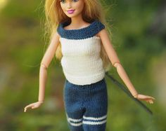 Barbie Clothes, Barbie shorts and top, barbie fashionista, barbie shirt Knitting for Barbie, Barbie Clothing,Collectible Dolls, handmade