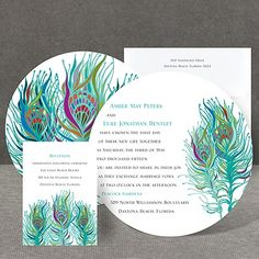 Nouveau Peacock round Invitation by Invitations by Dawn Indian Invitations, Peacock Wedding Invitations, Wedding Invitation Suite, Bridal Shower Invitations, Custom Invitations, Wedding Stationary, Trendy Wedding, Dream Wedding, Wedding Ideas