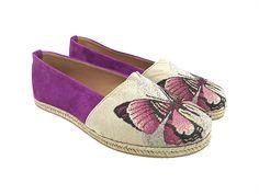 """Εσπαντρίγιες """"Butterfly""""     Κωδ. 222063-F56S Women's Espadrilles, Little Flowers, Suede Leather, Fabric, Handmade, Shopping, Shoes, Fashion, Tejido"""