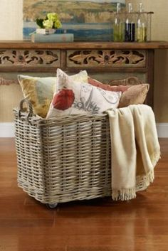 Avery Rolling Storage Baskets from Soft Surroundings. I've love multiple baskets like this.  How convenient.