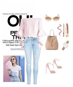 Jeans day workwear by renistyle on Polyvore featuring polyvore, fashion, style, Chicwish, Current/Elliott, Casadei, Furla, Daniel Wellington, Gucci and clothing
