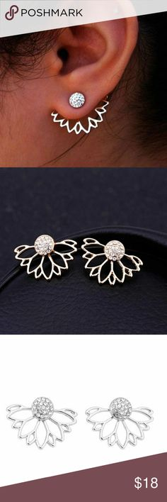 Crystal Rhinestone Lotus Flower Earrings Crystal Rhinestone Lotus Flower Double Side Stud  Earrings Ear Jaccket. Brand new  Perfect Christmas stocking gift Jewelry Earrings