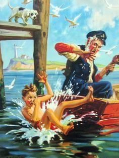 Original HY Hintermeister Calendar Sample Dow Litho Grandpa Fishing Boat Boy Dog | eBay