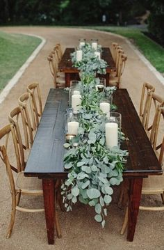 The head table will feature a runner of eucalyptus and white waxflowers going down the length of the table with pillar candles in vases and silver mercury glass votives sprinkled in between. www.stemfloral.com I www.thenicholsblog.com I www.thecontemporaryaustin.org I www.dnaeventsaustin.com