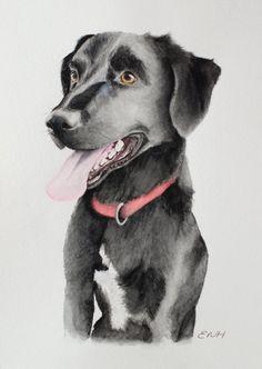 Pet Portrait Custom, Commission a Pet Painting, Dog Watercolour Paintings, Animal Lover Gift, Animal Art, Black Labrador, Border Collie