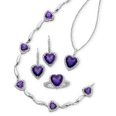 Lab-Created Amethyst & Cubic Zirconia 4-pc. Boxed Jewelry Set