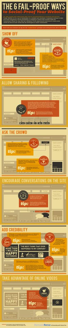 The 6 #fail-proof ways to social-proof your social site: #infographic #pinterest