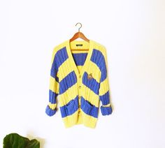 Slouchy Vintage Rugby Sweater/Vintage Cable Knit by thehappyforest