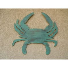 32 Painted Plywood Wooden Crab in Four Different Colors Gray Green Red... ($60) ❤ liked on Polyvore featuring home, home decor, blue, home & living, home décor, ornaments & accents, wooden home decor, sea life wall art, beach wall art and beach scene wall art