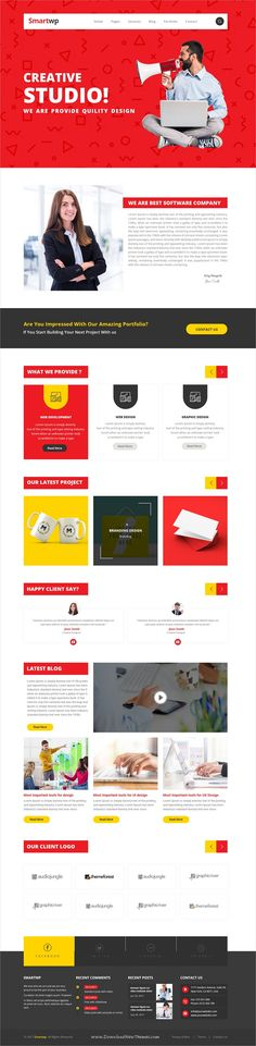 Smartwp is clean and modern design #PSD template for #IT firm and digital #studios website with 27 layered PSD pages download now..