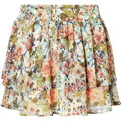 Vero Moda Flower Mini Skirt ($18) ❤ liked on Polyvore featuring skirts, mini skirts, bottoms, saias, gonne, oatmeal, floral mini skirt, layered skirt, chiffon skirt and flower print skirt