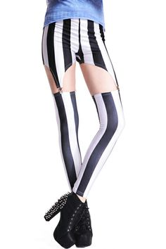 Black And White Strip Print Detachable Leggings. Description These Leggings have been crafted from elastic fabric design, featuring brief styling with black and white strip print design, removeable trousers with buckles on the front and the back,a stretchy waist and all in a soft-touch stretch finish. Fabric Polyester. Washing Cool hand wash. #Romwe