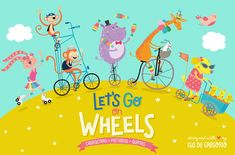 Let's go on wheels wheels animals skate rollers bike bicycle biker tricycle monopatin rabbit girl illustrations kids children bear skater giraffe friends horse juggler cycle cycling dogs puppies hippopotamus swan monkeys roller skate patin boys Business Illustration, Pencil Illustration, Graphic Illustration, Texture Web, Pattern Quotes, Design Typography, Creative Sketches, Paint Markers, Cute Pattern