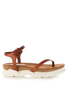 Stella McCartney's tan-brown faux-leather Altea sandals are a modern take on classic athletic styles. They have a sleek crossover thong strap and are designed with the label's signature chunky midsole in cork and heavy-duty rubber. Tan Shoes, Shoe Boots, Vegan Sandals, Stella Mccartney Shoes, Vegan Fashion, Sport Sandals, Athletic Fashion, Dress With Boots, Leather Sandals