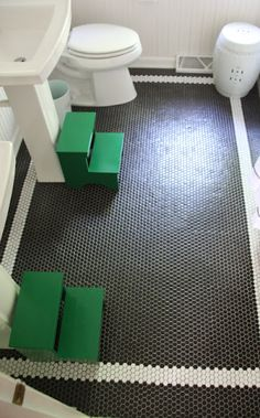 Great Black Hex Tile Floor With White Border Bathroom Tiles Mosaic