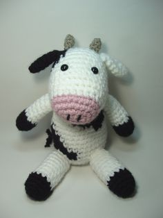 Crocheted Cow Stuffed Animal Toy by NicolesCritters on Etsy, $29.00