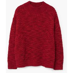 Chunky-Knit Sweater (1 120 UAH) via Polyvore featuring tops, sweaters, red top, cable-knit sweater, drop shoulder sweater, knit top и long sleeve tops
