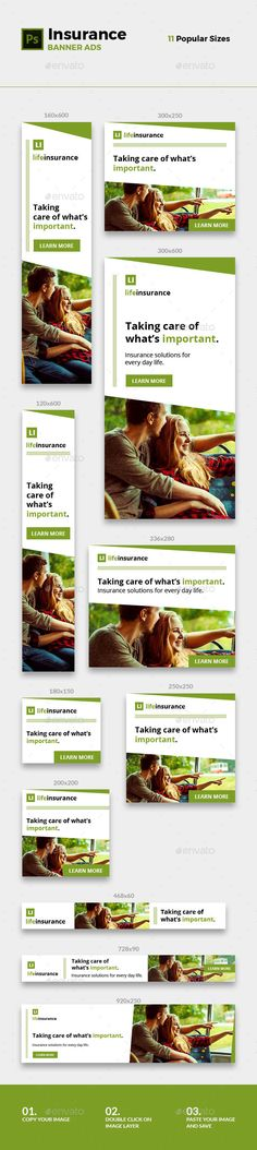 Buy Insurance Banners by RivaThemes on GraphicRiver. 11 great web banners to promote your insurance services. Banner Template, Banner Instagram, Low Car Insurance, International Travel Insurance, Web Banner Design, Web Banners, Brochure Design Inspiration, Insurance Marketing, Templates