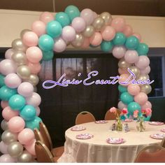 Spiral Balloon Arch Pink Silver Teal Purple
