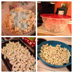 Perfect for parties, showers, holiday parties, etc. Popcorn covered in white chocolate (pictured in blue for baby shower). Pop 2 bags popcorn, dump it in a bowl with lid, melt white chocolate and add any color food coloring, pour chocolate in bowl, cover with lid and shake until evenly covered. Pour popcorn on baking sheet and put it in refrigerator to harden. After it hardens, break it up and serve for a good sweet/salty snack!!