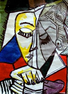 In this exercise, one of the famous Cubist portraits painted by Picasso has been made with collage, using different kinds of paper (colored tissue paper, newspaper and magazine fragments). Each stu. Pablo Picasso, Picasso Collage, Kunst Picasso, Art Picasso, Picasso Style, Portraits Cubistes, Cubist Portraits, Portrait Art, Georges Braque