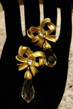 Edwin Pearl Bow And Crystal Clip Back Earrings in Jewelry & Watches, Vintage & Antique Jewelry, Costume   eBay